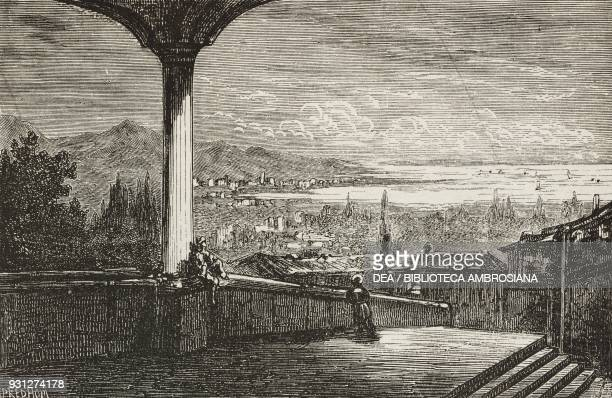 View of the city and the bay of Smyrna Turkey drawing by Gustave Dore from a sketch by Bordone illustration from Musee FrancaisAnglais n 21 September...