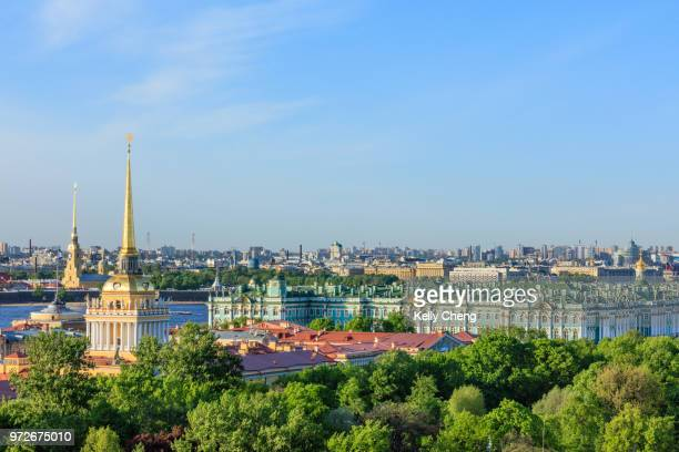 view of the city center of saint petersburg - winter palace st. petersburg stock photos and pictures