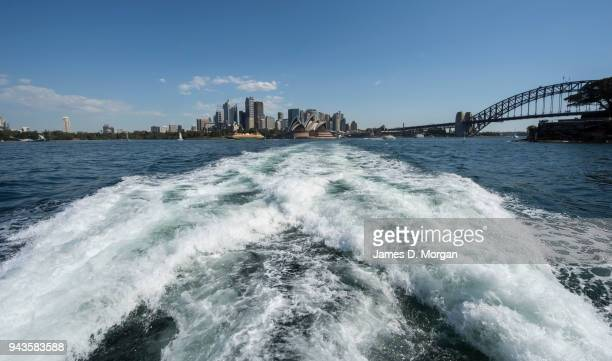 A view of the city from a Sydney ferry as it crosses the harbour on April 9 2018 in Sydney Australia Sydney has been experiencing unseasonably high...