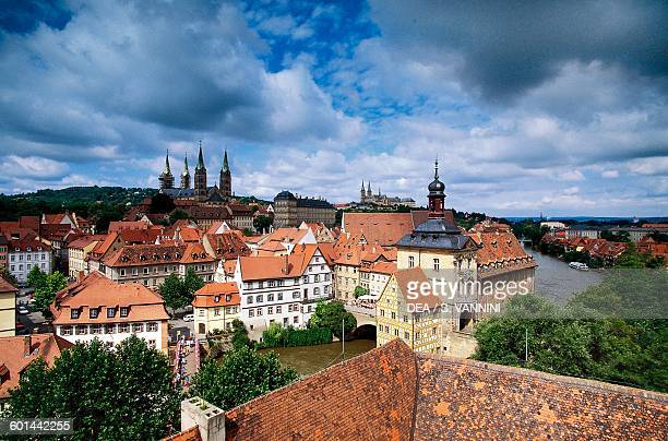 View of the city from Geyersworthschloss Bamberg Bavaria Germany