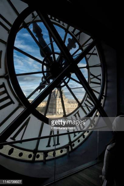 view of the city from inside the transparent clock,musee d'orsay. - emreturanphoto stock pictures, royalty-free photos & images