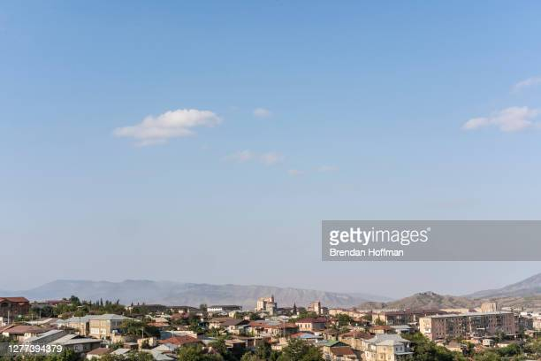 View of the city from the main hospital on September 29, 2020 in Stepanakert, Nagorno-Karabakh. Heavy fighting has taken place since Sunday morning...