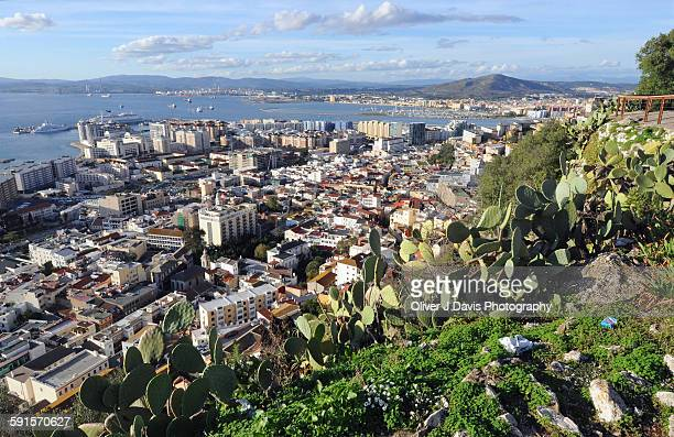 view of the city gibraltar from the rock - rock of gibraltar stock photos and pictures
