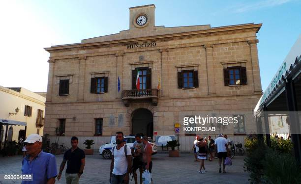 View of the city hall on Favignana island in Egadi Islands Sicily region southern Italy