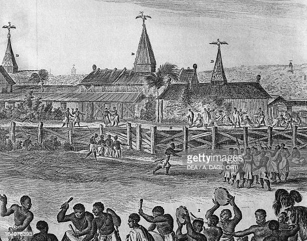 View of the city of Benin with the royal palace Nigeria engraving from the Description of Africa by Olfert Dapper 1686 Detail Africa 17th century...