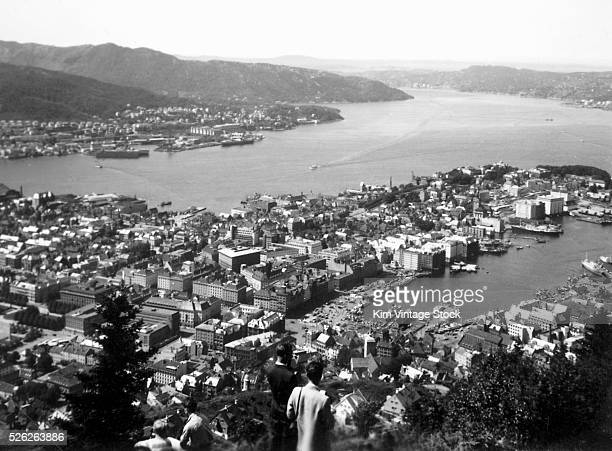 View of the city of Bergen Norway from Mt Fl��yen