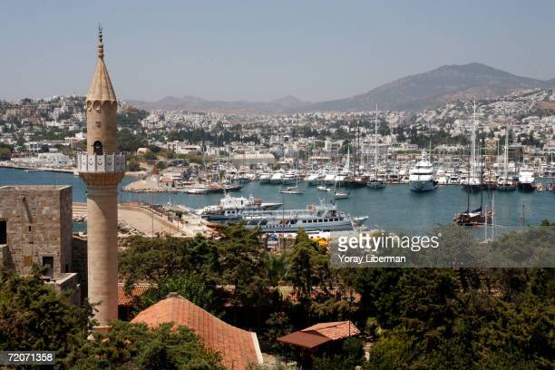 A view of the city of Bodrum its bay and its harbor from the 15th century Bodrum castle August 5 2006 in Bodrum Turkey Bodum and its peninsula are at...