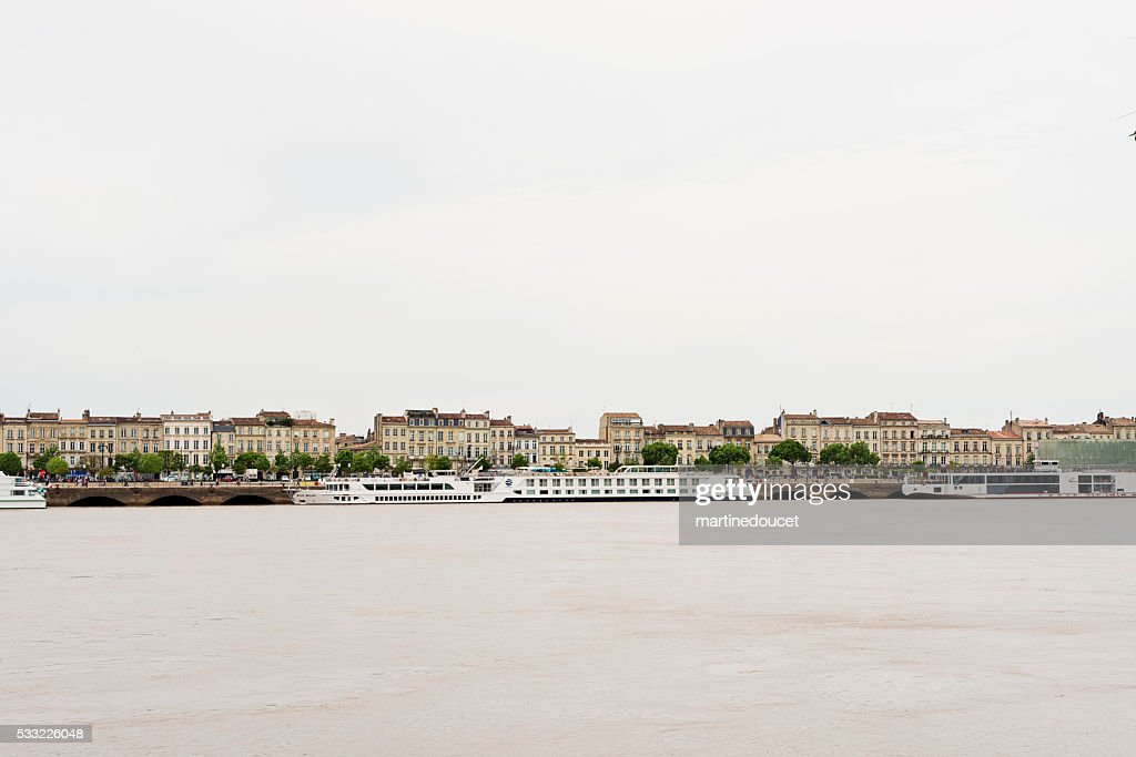 View of the city of Bordeaux, France from rive droite. : Stock Photo