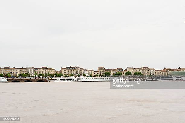 View of the city of Bordeaux, France from rive droite.