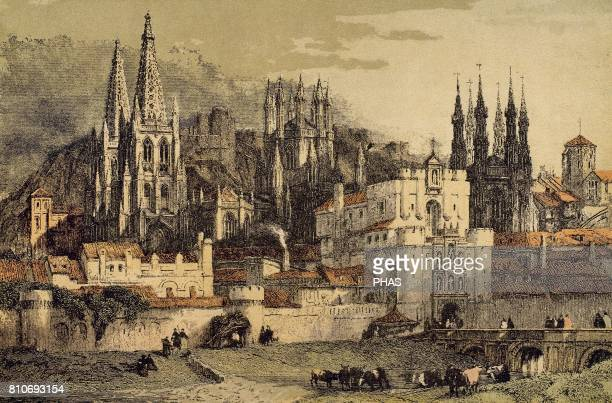 View of the city of Burgos with its walls Engraving of the 18 century
