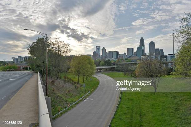 View of the city of Charlotte during the coronavirus pandemic, in NC, United States on March 30, 2020.