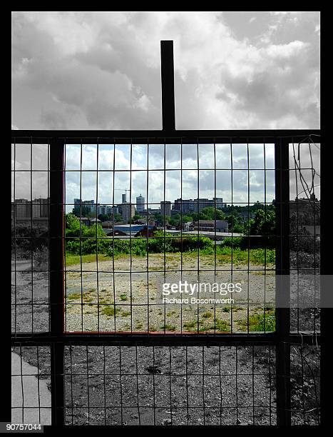 View of the city of Leeds through a mesh