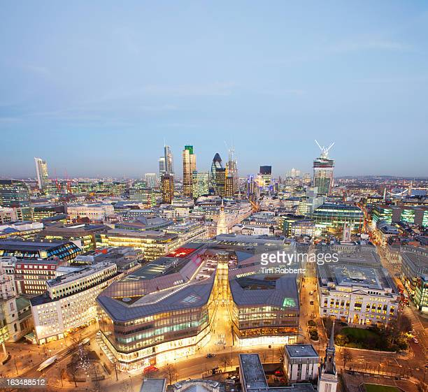 View of the City of London financial district at d