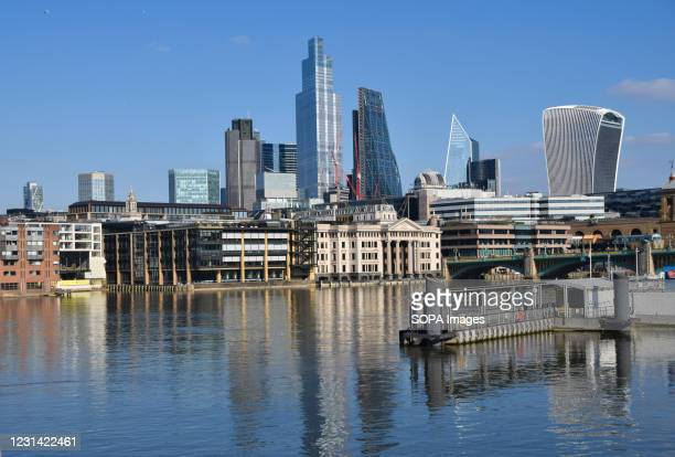 View of the City of London on a clear day. The coronavirus alert level has dropped in England, prompting people to gather outside despite the...