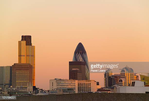 View of the City of London skyline with the iconic Tower 42, Swiss Re Tower and Lloyd's Buildings