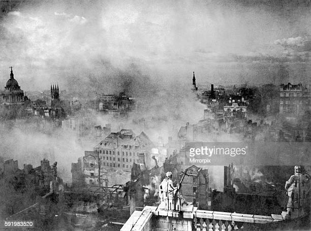 View of the city of London taken from the roof of St Paul's Cathedral showing the devastation and burning buildings following the blitz of the 29th...