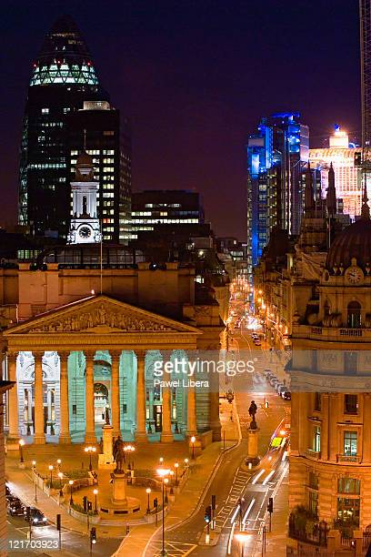 View of the City of London with the Royal Exchange, Swiss Re Tower and Lloyd's Building illuminated at night