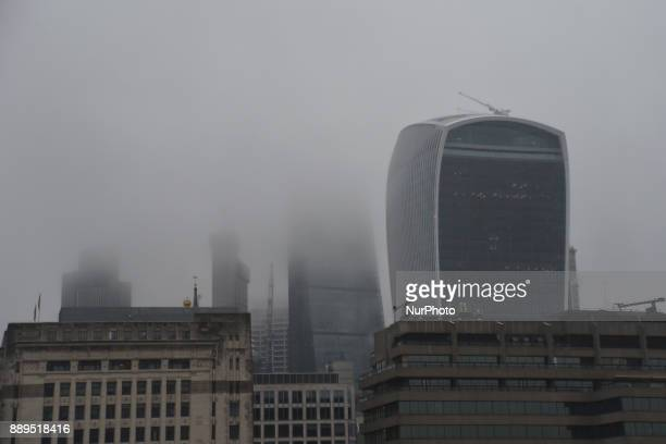 View of the City of London's skyscrapers in the fog under a snow fall London on December 10 2017 According to the BBC the deepest snowfall in the UK...