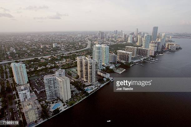 View of the city of Miami skyline where construction cranes rise above the city as it undergoes a tremendous building boom August 17, 2006 in Miami,...
