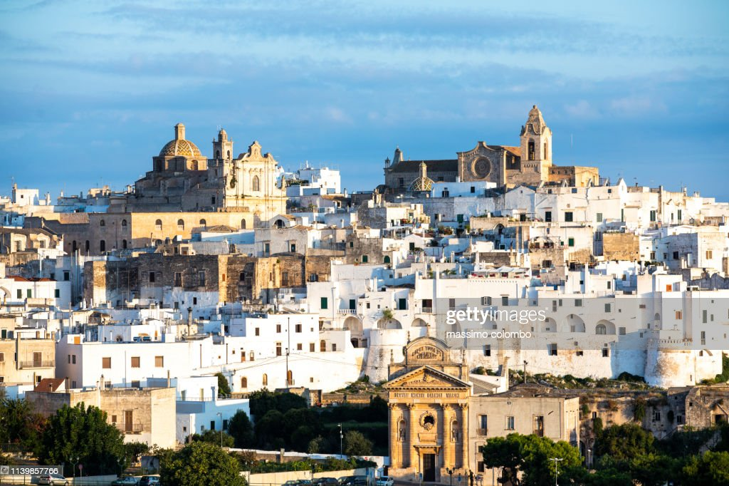 View of the city of Ostuni, early morning light : Stock Photo