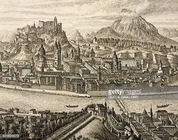 View of the city of Salzburg on the Salzach river with the Old town and the Hohensalzburg castle detail Austria 18th century Vienna Historisches...