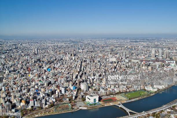 view of the city of tokyo - mauro tandoi stock photos and pictures