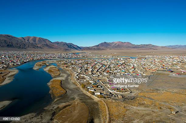 View of the city of Ulgii from the monument to the 75th anniversary of the Bayan-Ulgii Province in western Mongolia.