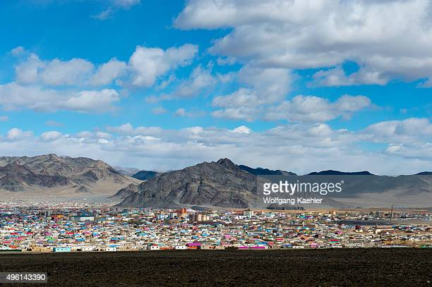 View of the city of Ulgii in western Mongolia from a hill
