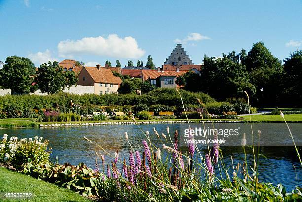 View of the city of Visby Sweden with pond in foreground