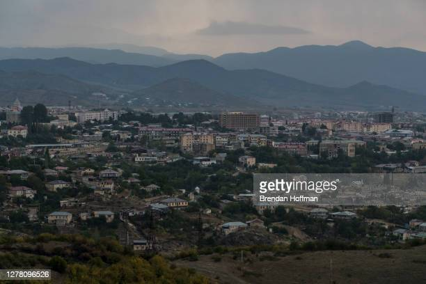 View of the city on October 2, 2020 in Stepanakert, Nagorno-Karabakh. A decades-old conflict between Armenia and Azerbaijan has reignited in the...