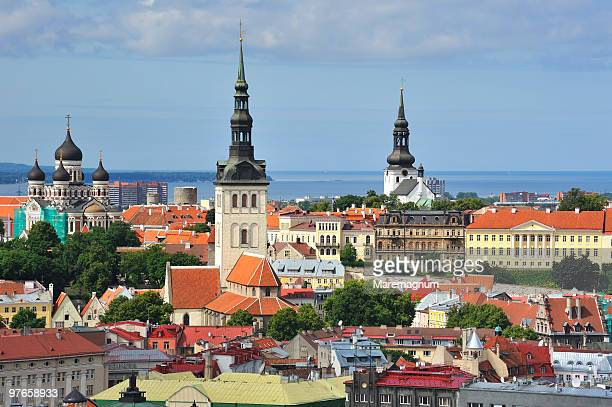 view of the city - estonia stock pictures, royalty-free photos & images