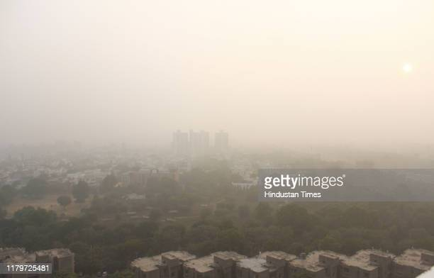 View of the city skyline engulfed in heavy smog, on November 2, 2019 in Gurugram, India. The air quality index hit 473 at 9 am, according to Central...