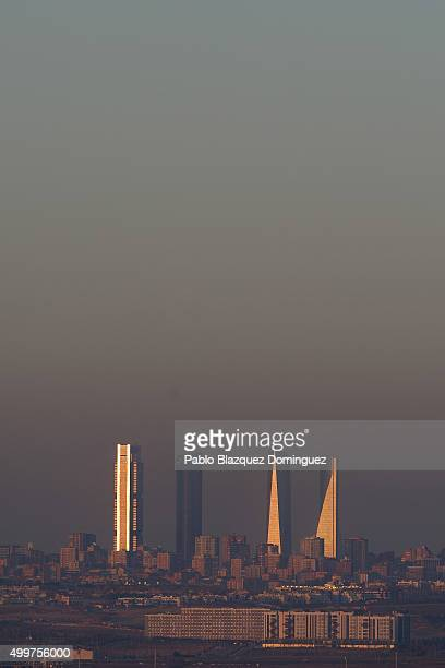 A view of the city skyline of Madrid is seen on December 3 2015 in Madrid Spain For the second time in a month Madrid City Council has taken measures...