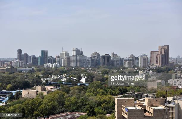 View of the city skyline seen from the Police Headquarters at ITO during the first day of national lockdown imposed by PM Narendra Modi to curb the...