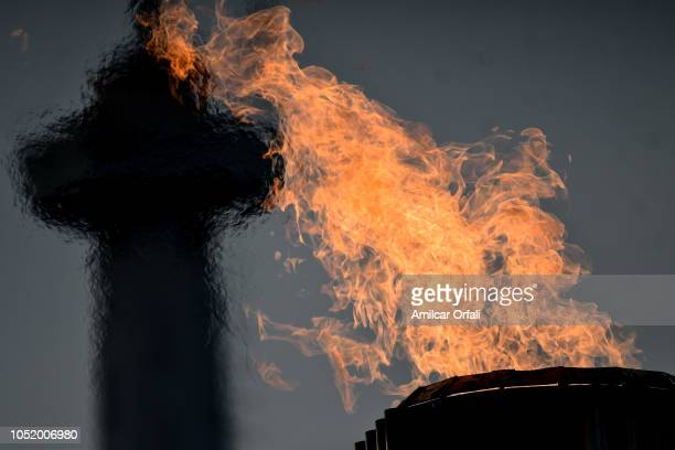 View of the City Tower and the Olympic Flame at Olympic Park during Day 2 of Buenos Aires 2018 Youth Olympic Games on October 09 2018 in Buenos Aires...