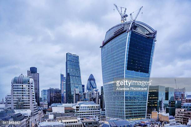 View of The City with the Walkie-Talkie building (also known as 20 Fenchurch Street) and the Cheesegrater (also known as Leadenhall Building) from The Monument