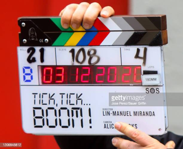View of the clapper is seen on the set of 'Tick Tick Boom' on March 12 2020 in New York City