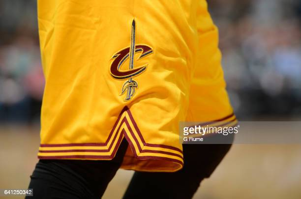 A view of the Cleveland Cavaliers logo on the shorts worn during the game against the Washington Wizards at Verizon Center on February 6 2017 in...