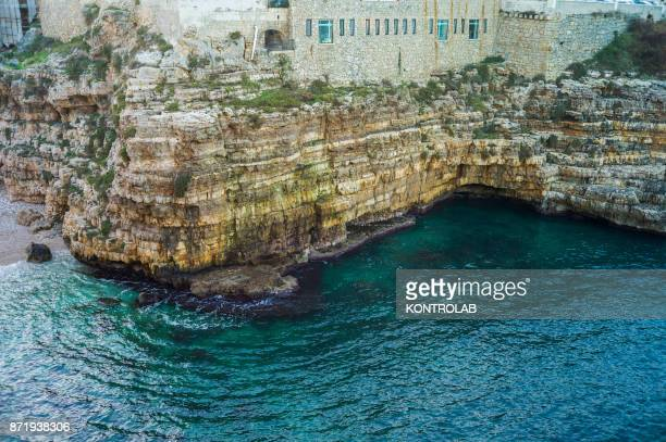 A view of the cliff at Polignano a Mare in Puglia southern Italy