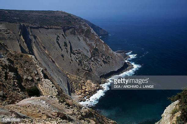 View of the cliffs overlooking the Atlantic at Cabo Espichel headland Province of Extremadura Portugal