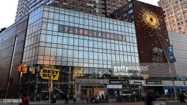 """View of the """"Climate Clock"""" in Union Square as the city continues Phase 4 of reopening following restrictions imposed to slow the spread of..."""