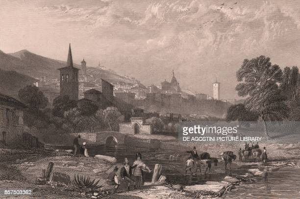 View of the Clitunno River with the city of Spoleto in the background Umbria Italy steel engraving by James Redaway after a drawing by James Duffield...