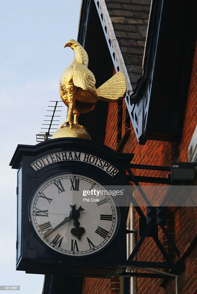 A view of the clock from outside White Hart Lane before the Tottenham Hotspur Tribute match between Tottenham Hotspur and D.C. United at White Hart Lane in London on October 17, 2002.
