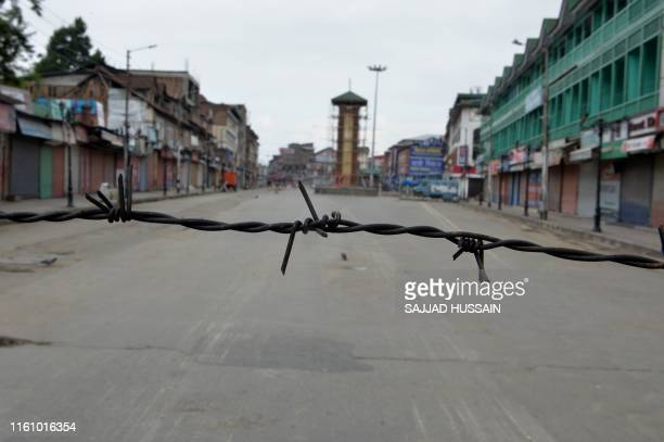 A view of the clock tower at Lalchowk in Srinagar is pictured during a security lockdown on August 11 after the Indian government stripped Jammu and...