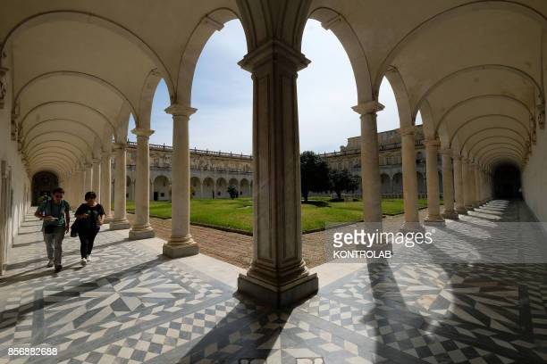View of the cloister inside the Certosa di San Martino in Naples.