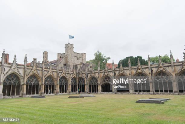 View of the cloisters of the Canterbury Cathedral Canterbury on July 15 2017 Canterbury Cathedral in Canterbury Kent is one of the oldest and most...