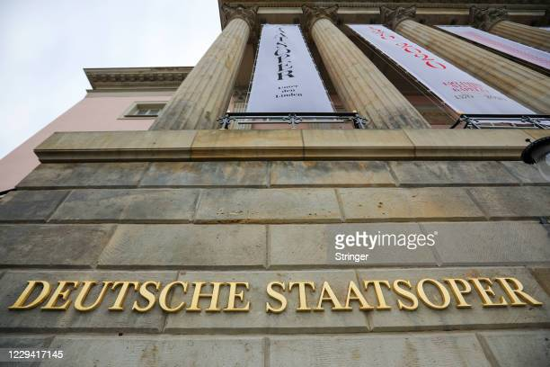 View of the closed Berlin State Opera on the first day of a four-week semi-lockdown during the second wave of the coronavirus pandemic on November 2,...