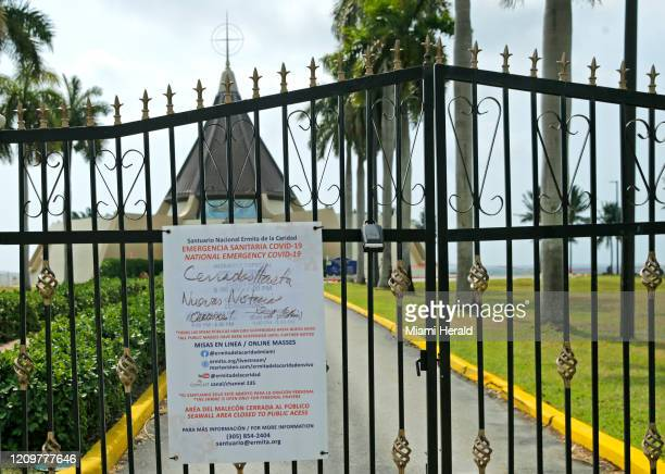 A view of the closed gate at the Ermita de la Caridad on Easter Day as the novel coronavirus pandemic continues on Sunday April 12 2020 in Miami