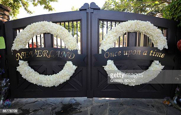 View of the closed gate of Michael Jackson's ranch Neverland in Los Olivos California on July 01 2009 in Los Angeles California Michael Jackson died...