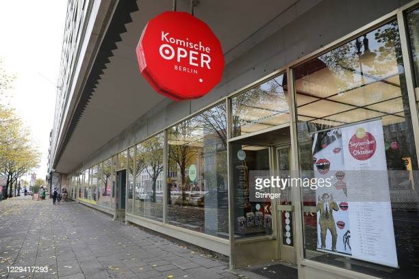 View of the closed Komische Oper Berlin opera house on the first day of a four-week semi-lockdown during the second wave of the coronavirus pandemic...